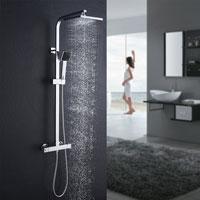 Columna de ducha Auralum con termostato con cabezal de ducha tipo lluvia y ducha de mano